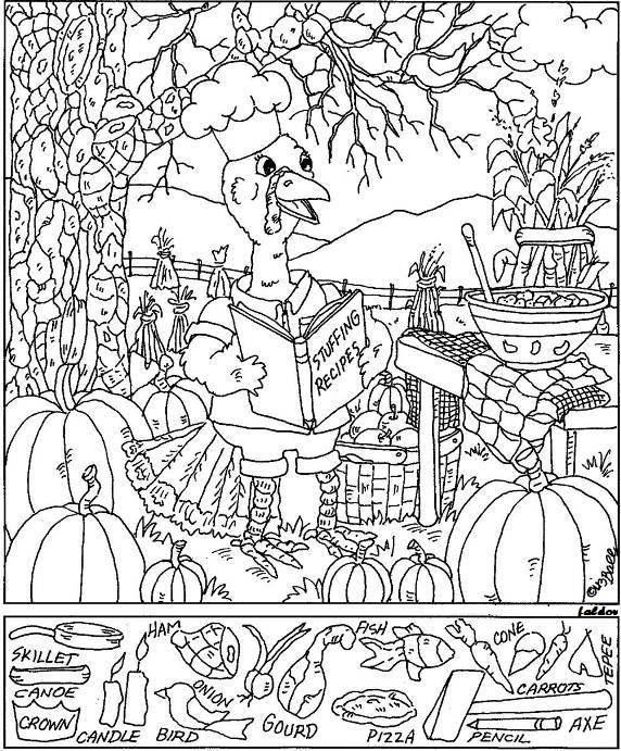 Thanksgiving Hidden Picture Coloring Page Hidden