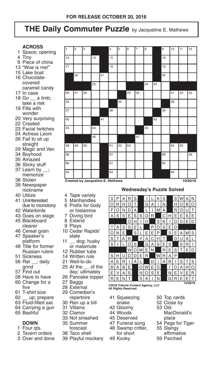 Printable Commuter Crossword Puzzles