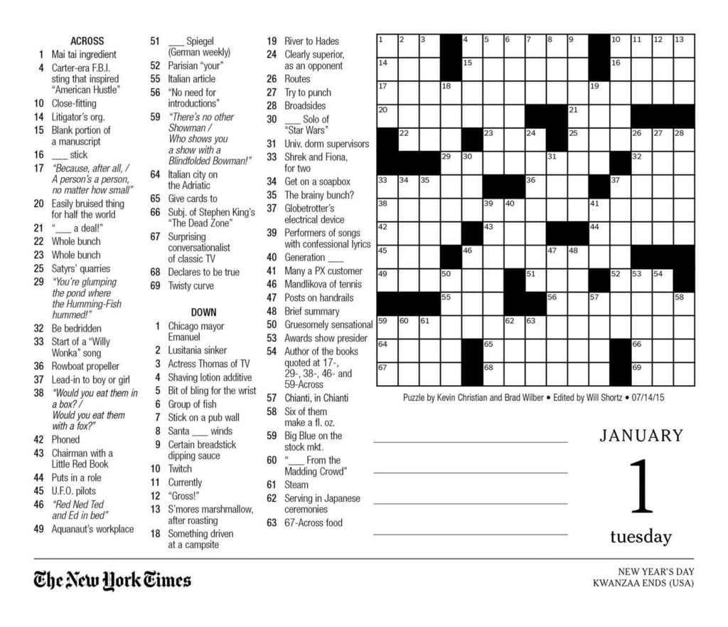 The New York Times Crossword Puzzles 2019 Day To Day