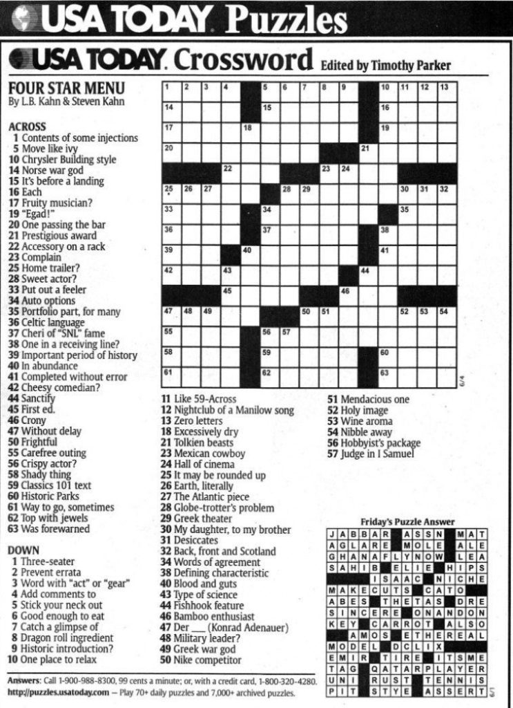 Usa Today Crossword Printable Version Printable