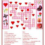 Valentine Day Crossword Worksheet Free ESL Printable