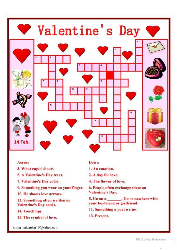 Free Printable Valentines Crossword