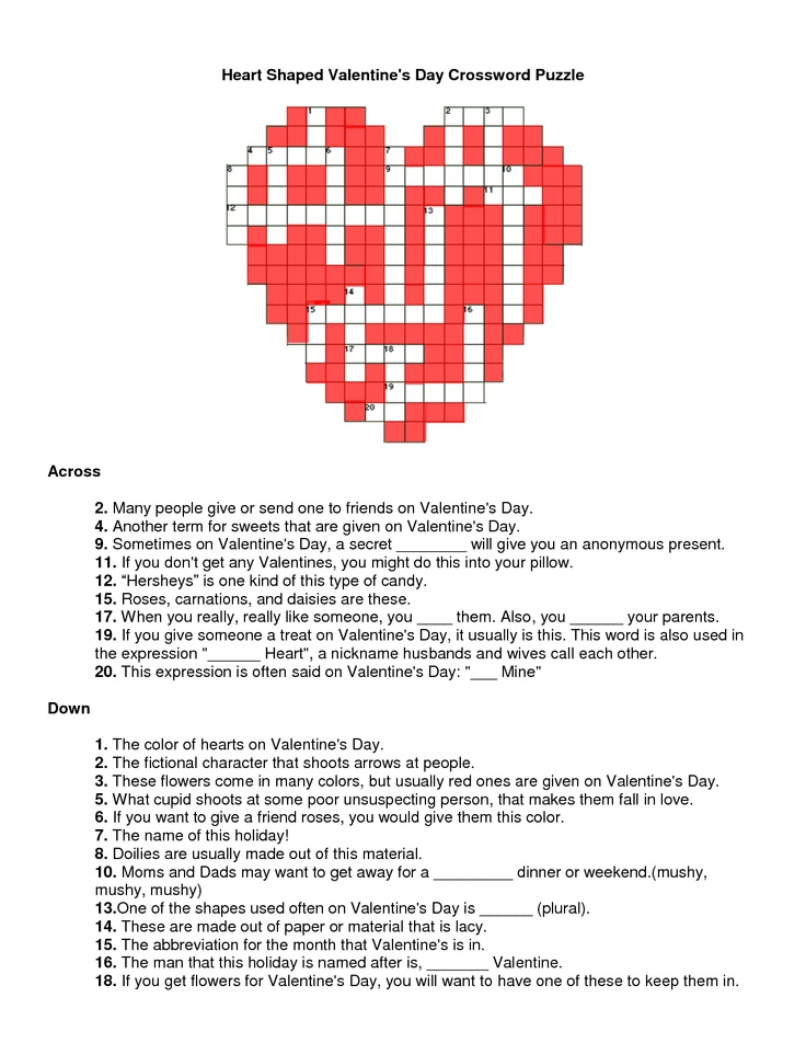 Valentines Day Crossword Puzzle Heart Shaped Valentines