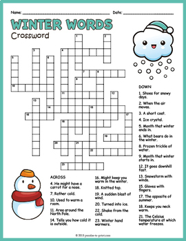 Winter Crossword Puzzle By Puzzles To Print Teachers Pay