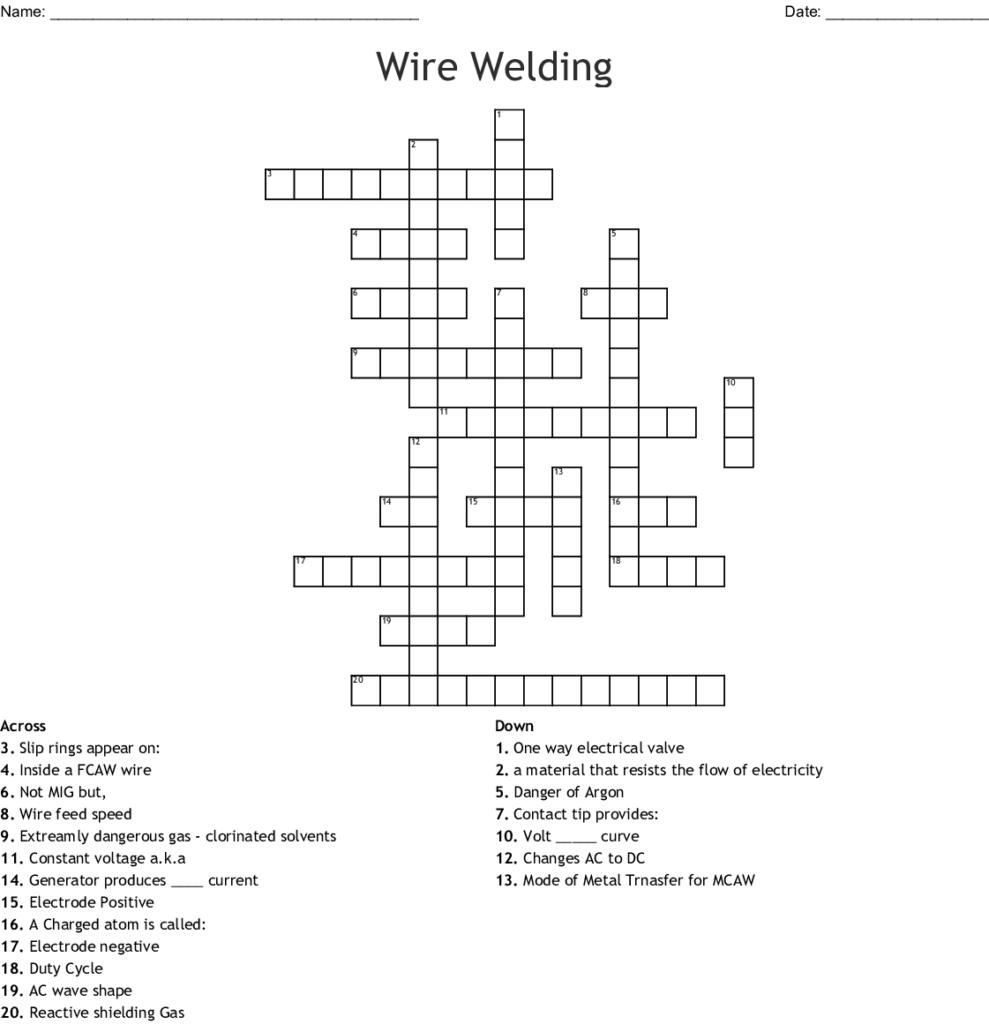 Wire Welding Crossword Wordmint Printable 2 Speed