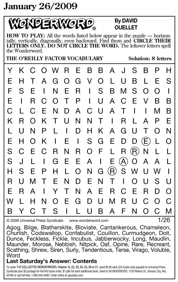 WonderWord Www Wonderword Word Search Puzzle Word