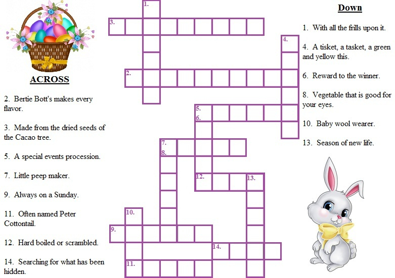 Printable Easter Crossword Puzzles