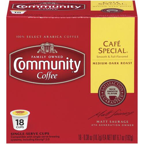 Community Coffee Cafe Special Coffee Pods 18 Count At