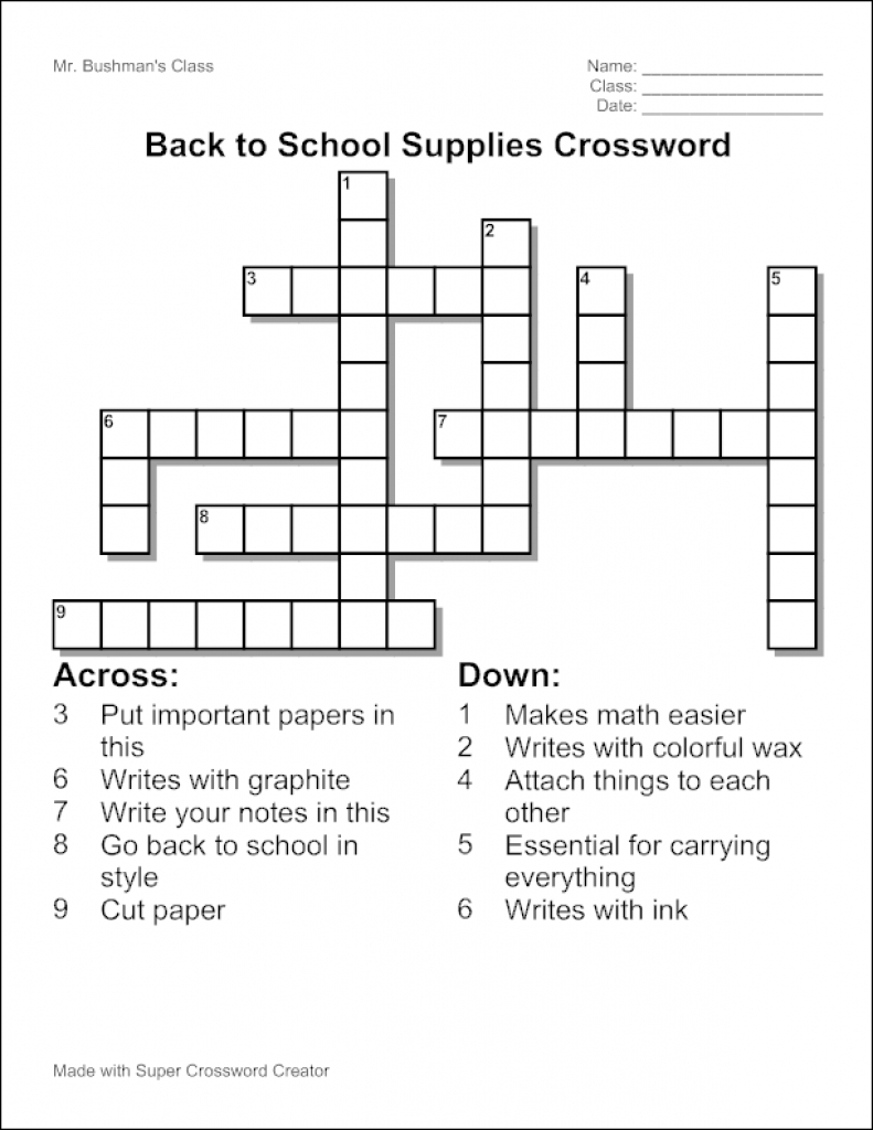 Create Your Own Crossword Free Printable