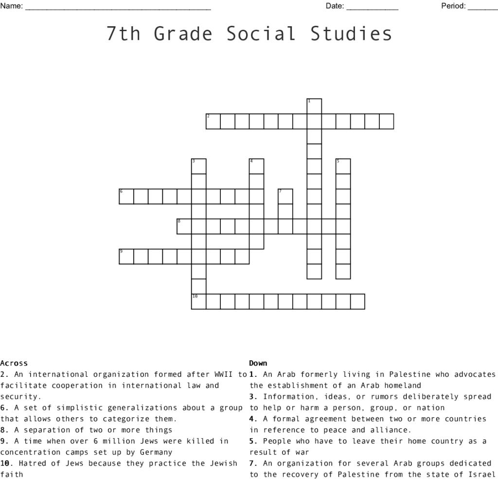 Crossword Printable 7Th Grade Printable Crossword Puzzles