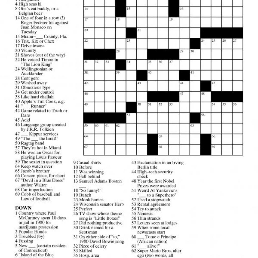 Daily Crossword Printable Version