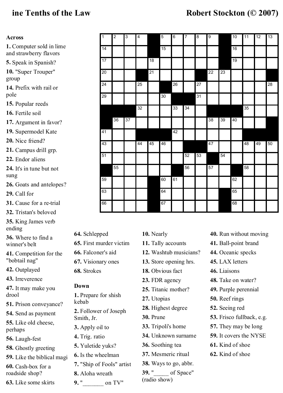 Free Printable Daily Crossword Puzzles 2018