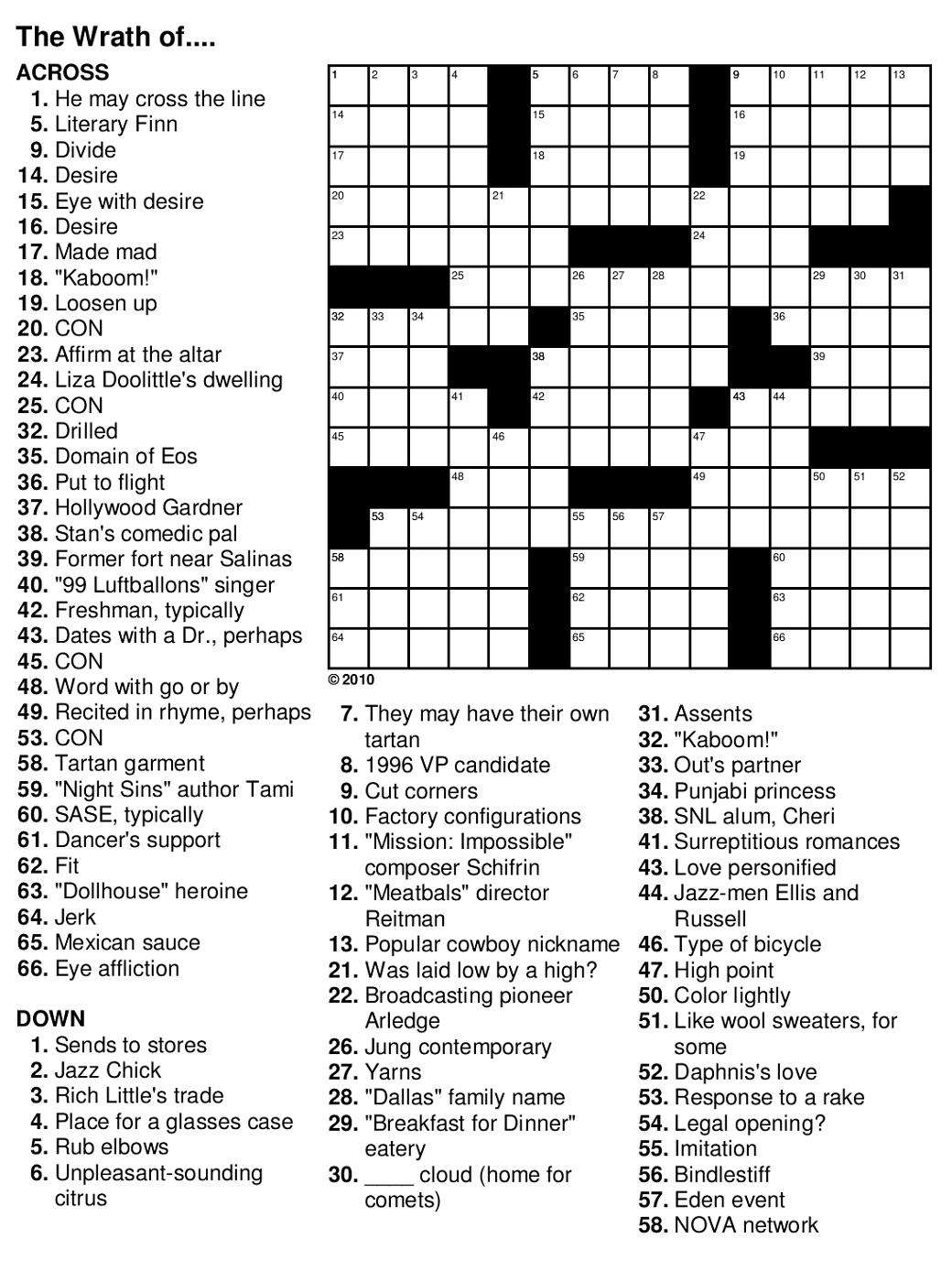 Printable Crossword For Seniors