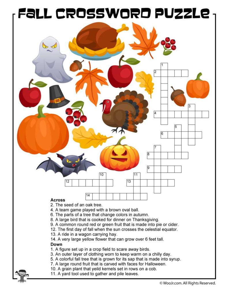Fall Crossword Puzzle Printable Woo Jr Kids Activities