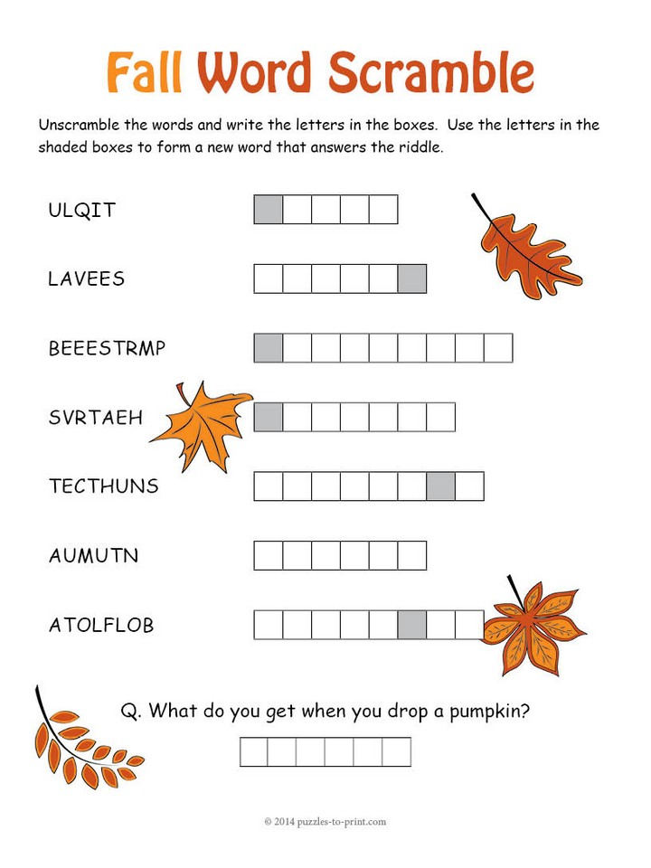 Fall Puzzles Printable Free