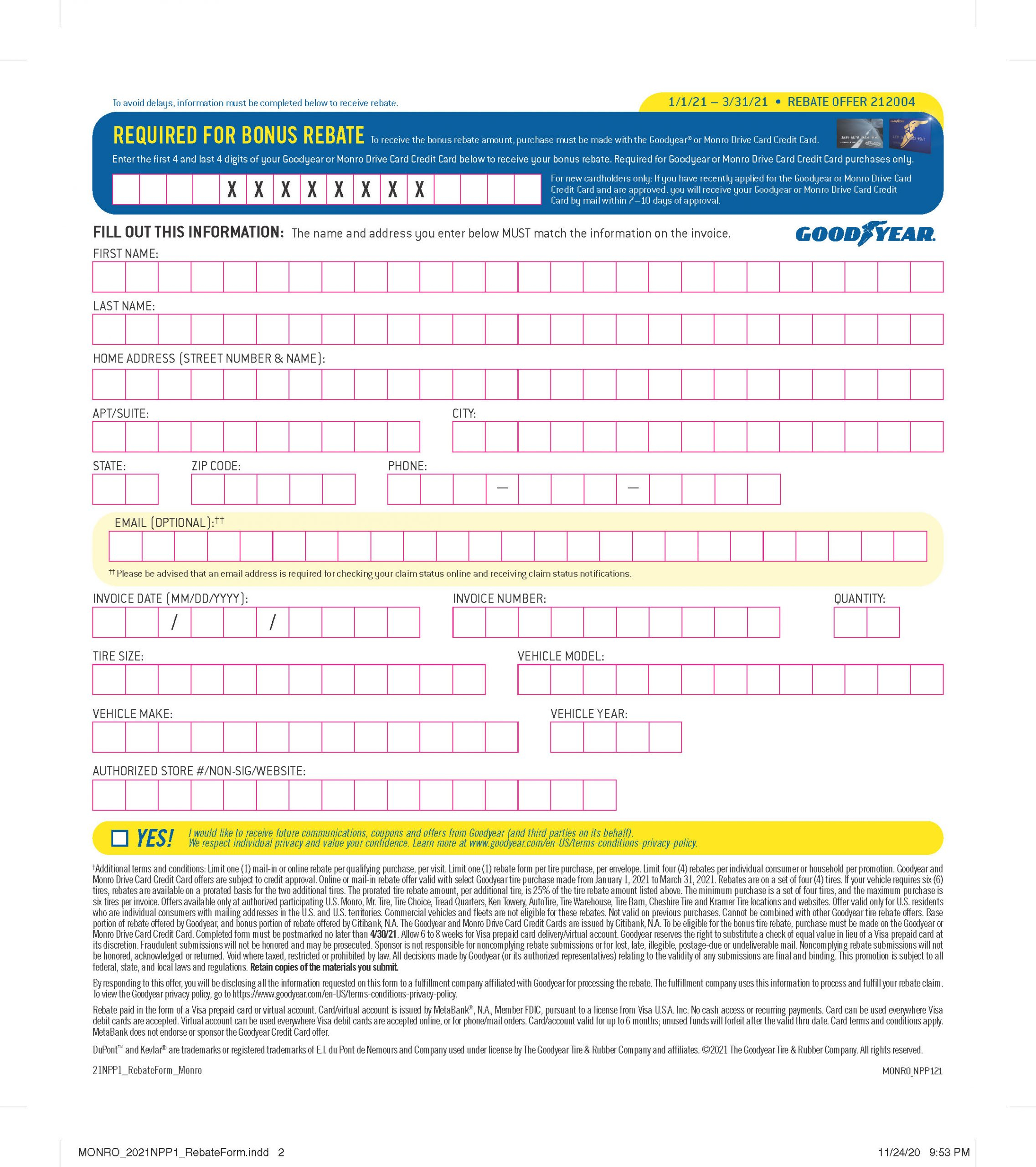 Menards Rebate Form March 2021