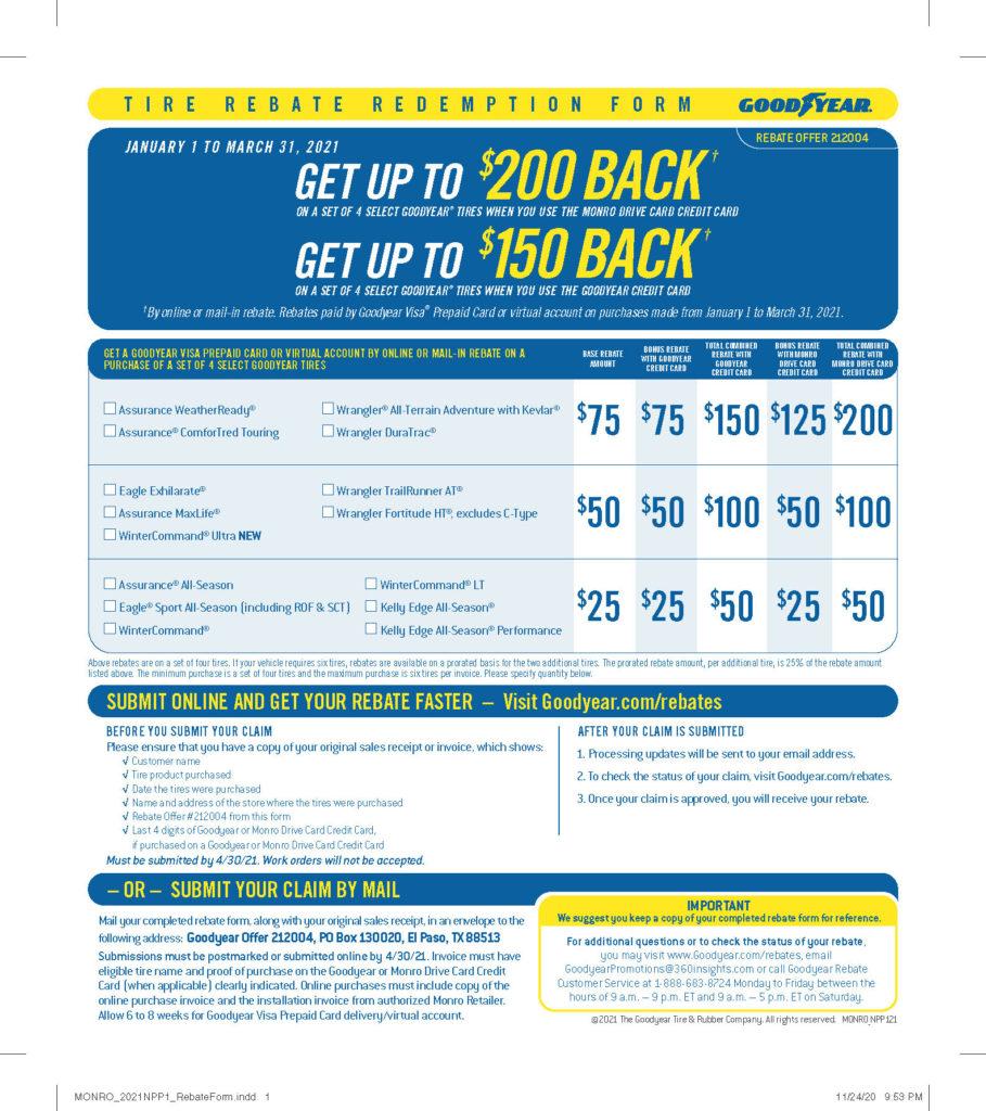 Goodyear Drive Card Rebate January March 2021 Car X