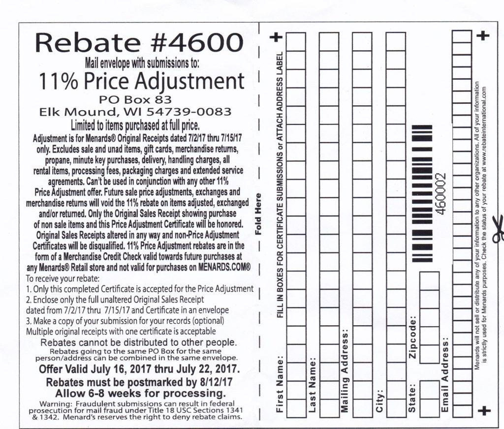 Menards 11 Price Adjustment Rebate