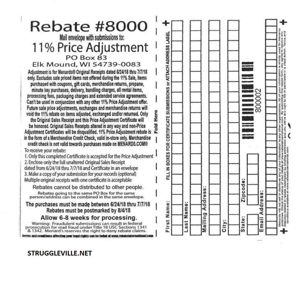 Menards 11 Price Adjustment Rebate 8000 Purchases 6 24