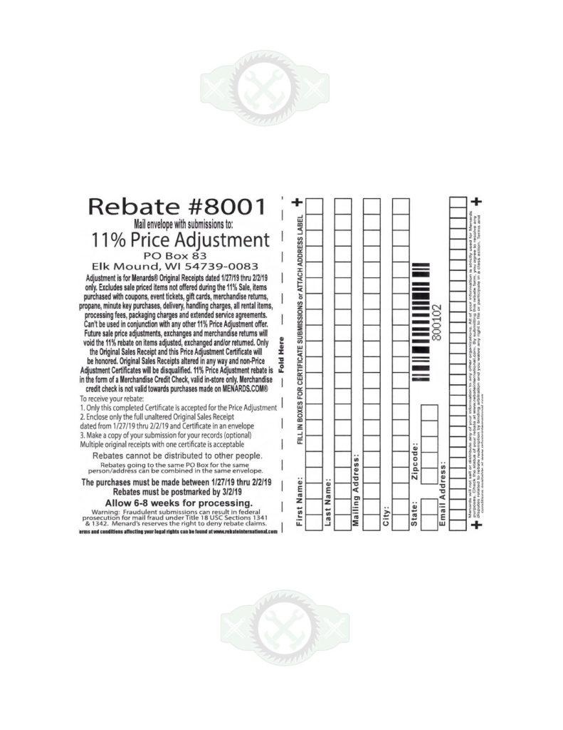 Menards 11 Price Adjustment Rebate 8001 Purchases 1 27