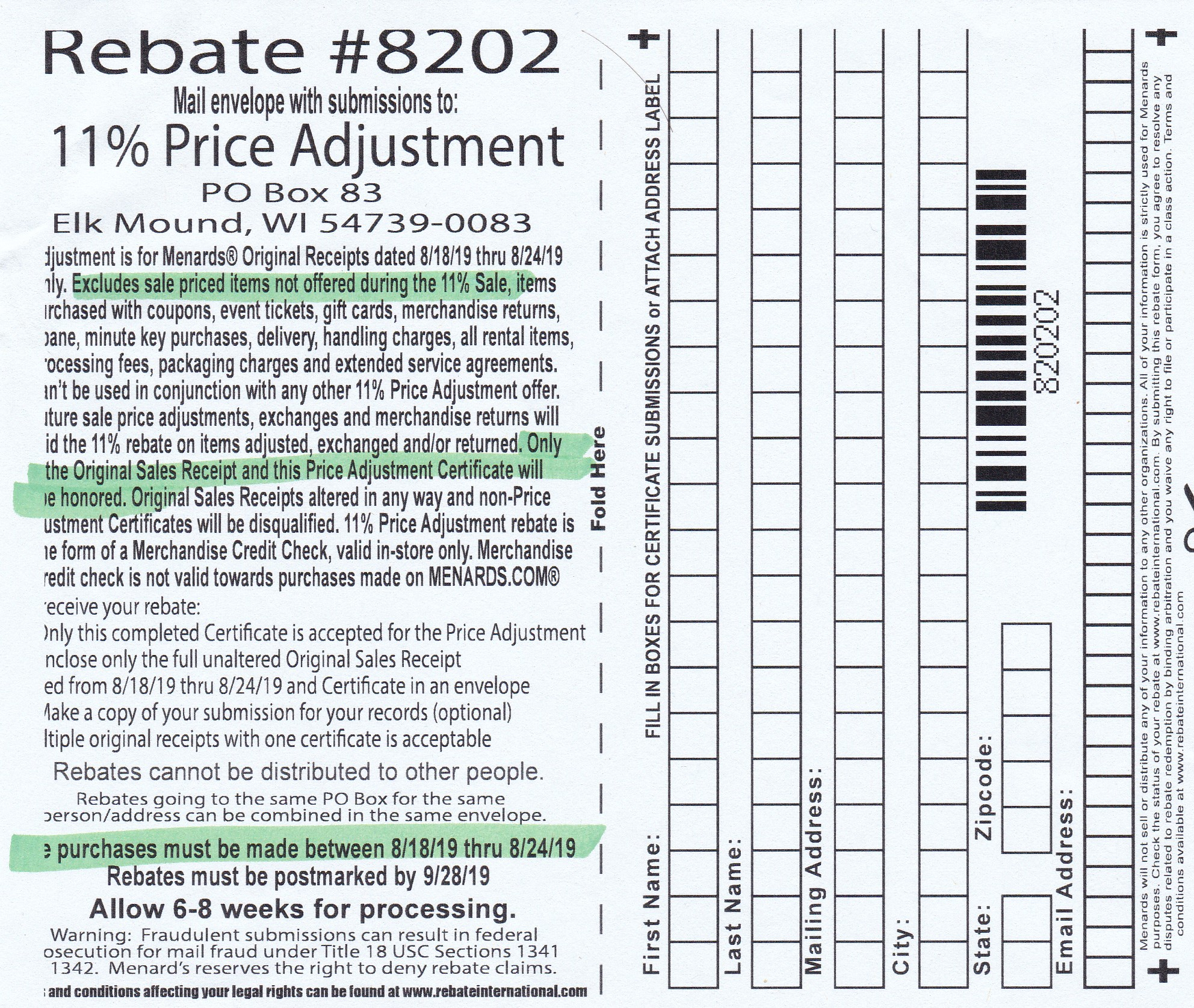 Menards Price Adjustment Rebate Form
