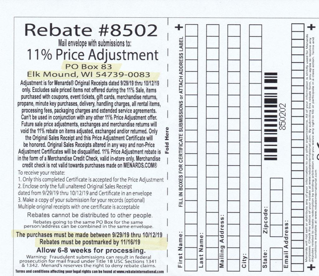 Menards 11 Price Adjustment Rebate 8502 Purchases 9 29