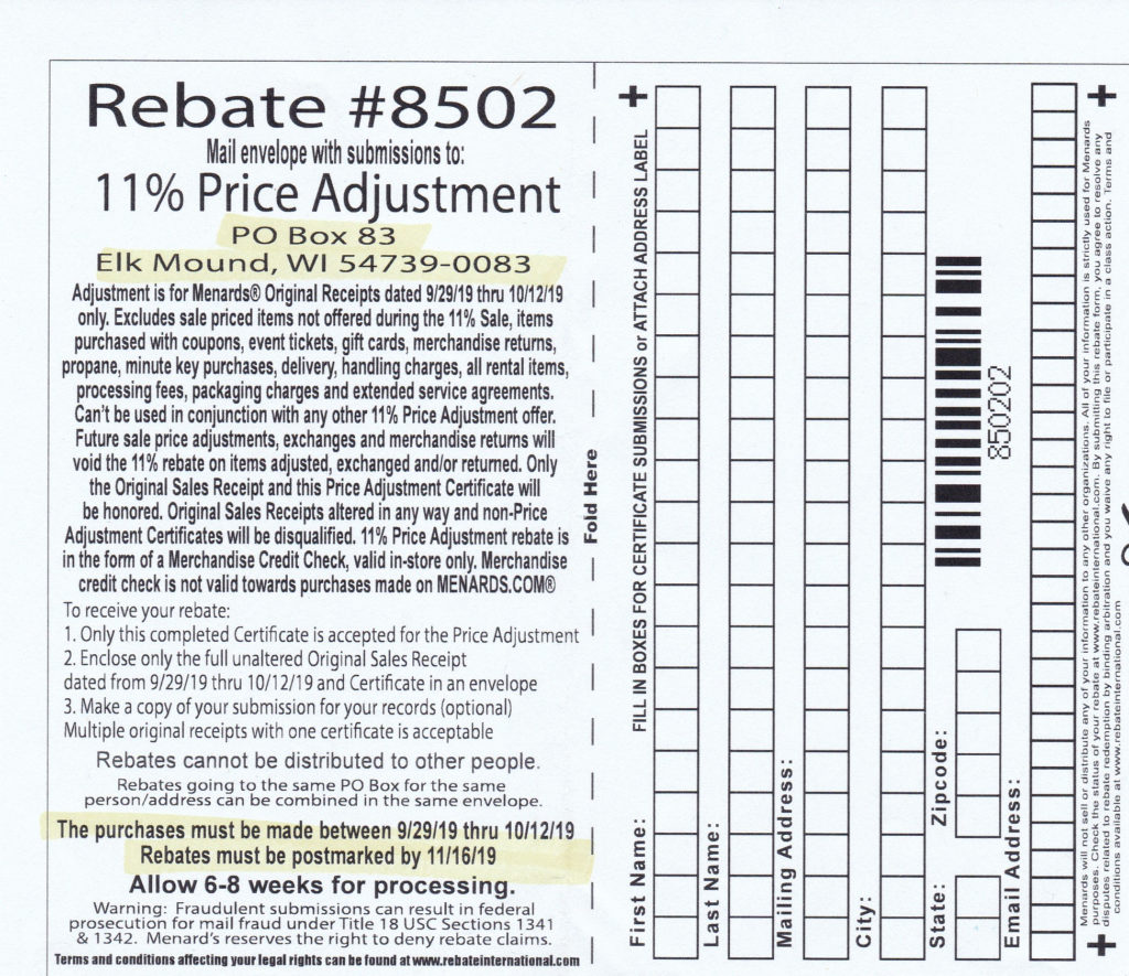 Menards 11 Price Adjustment Rebate 8502 Purchases 9 29