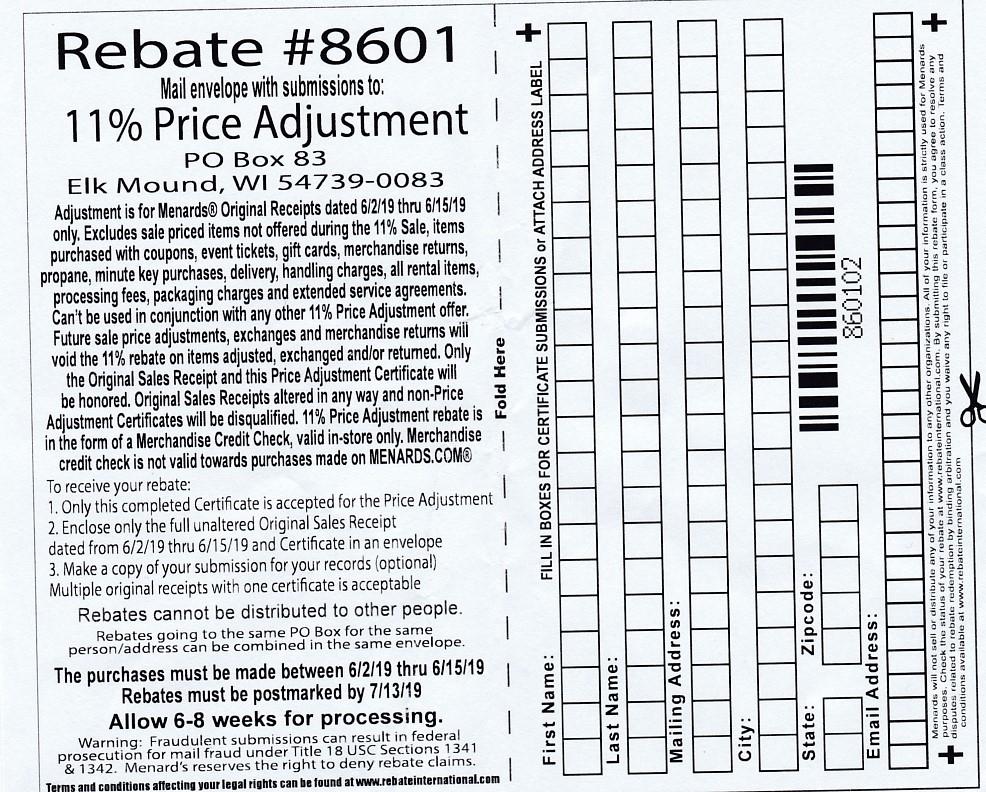 Menards 11 Price Adjustment Rebate 8601 Purchases 6 2