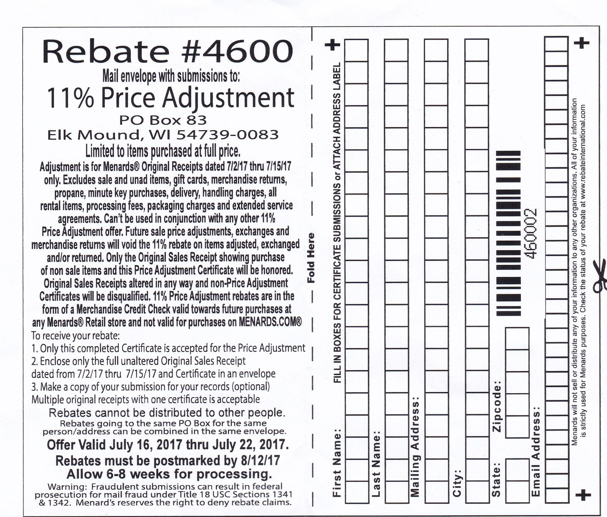 Menards Price Adjustment Rebate Form November 2021