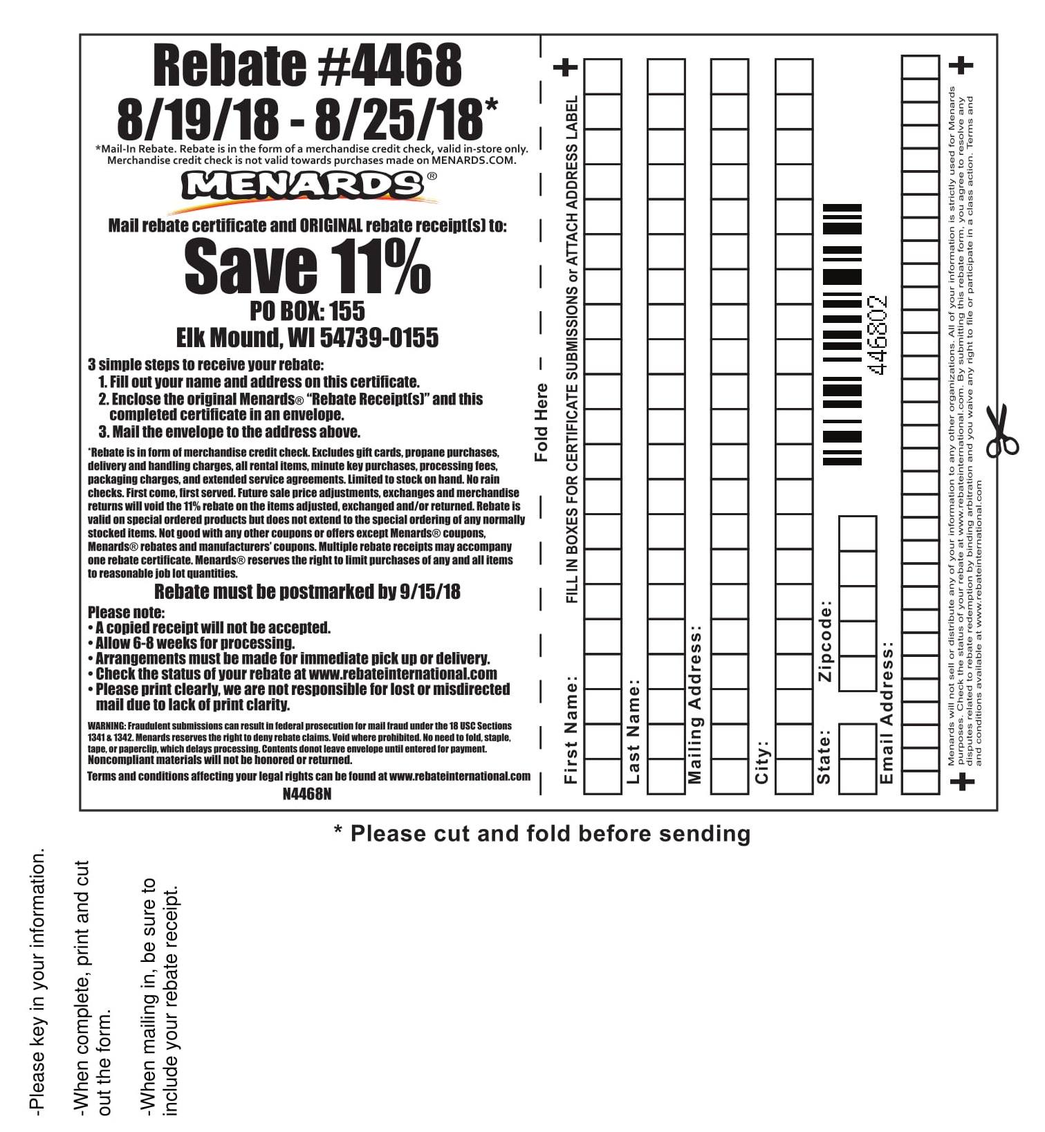 Menards 11 Rebate Form For Prior Purchases