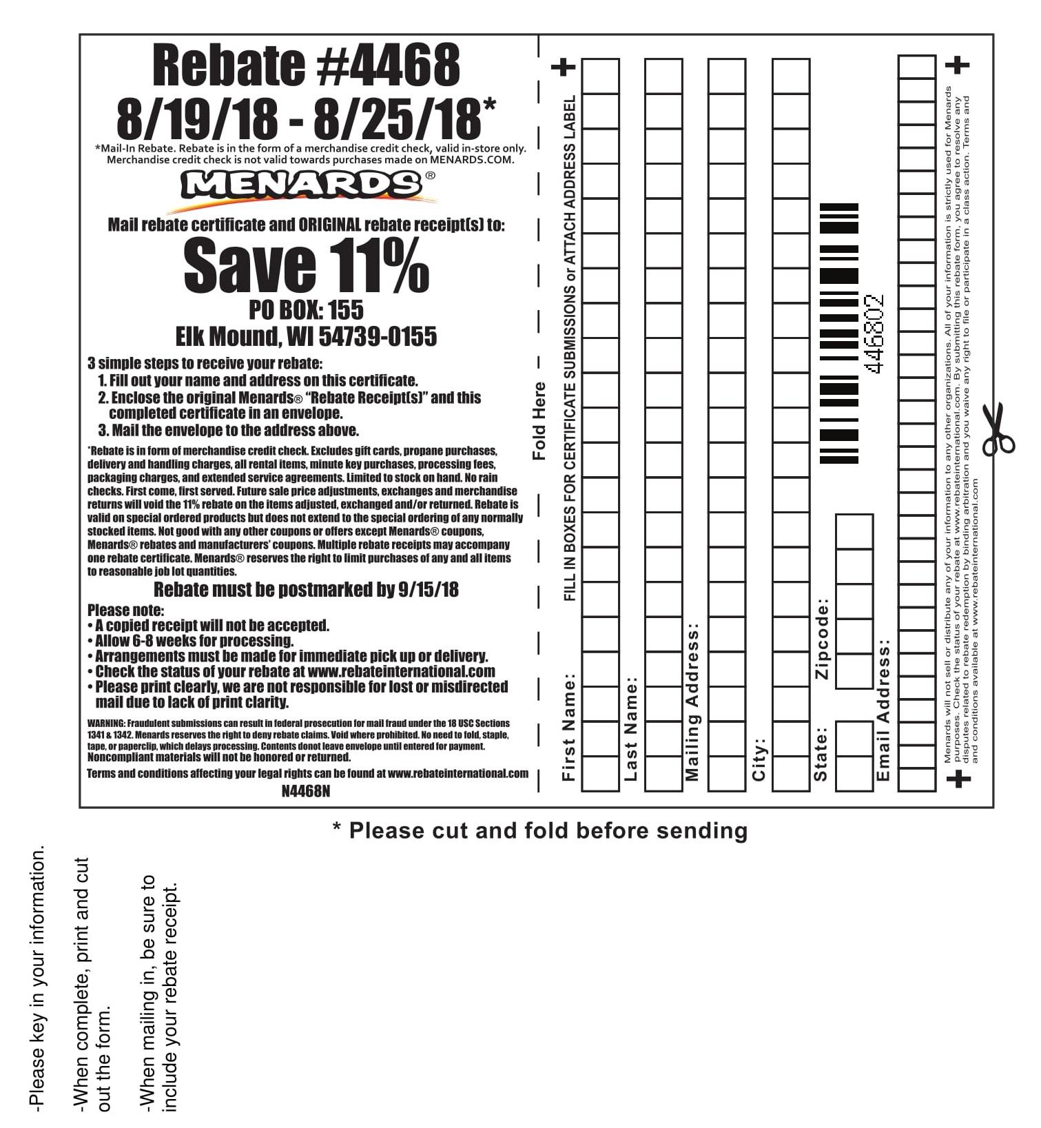 Menards Rebate Form 7809
