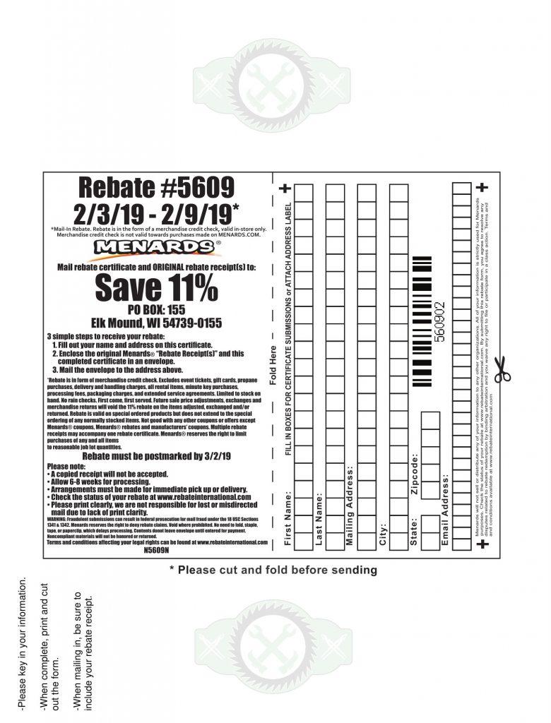 Menards 11 Rebate Form Home Depot