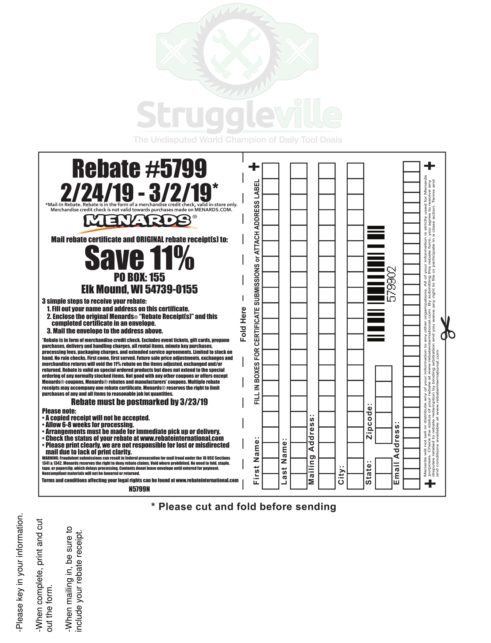 Menards Rebate Form To Print