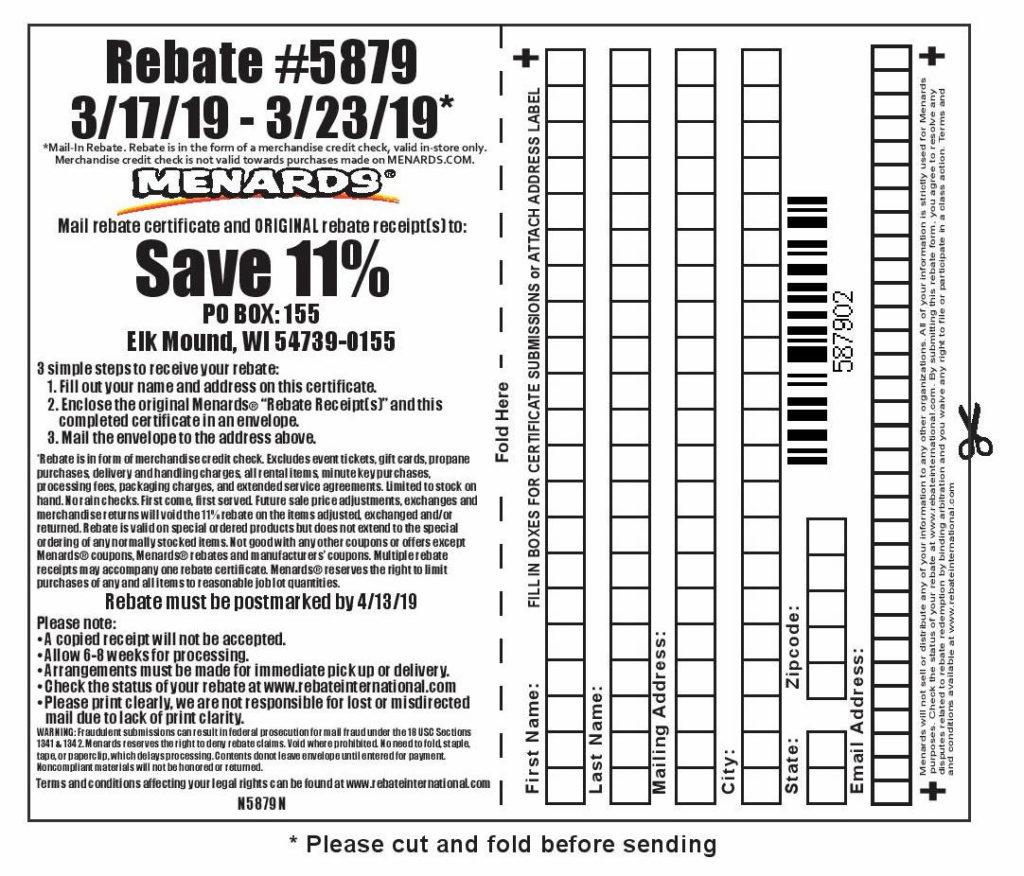 Menards 11 Rebate 5879 Purchases 3 17 19 3 23 19