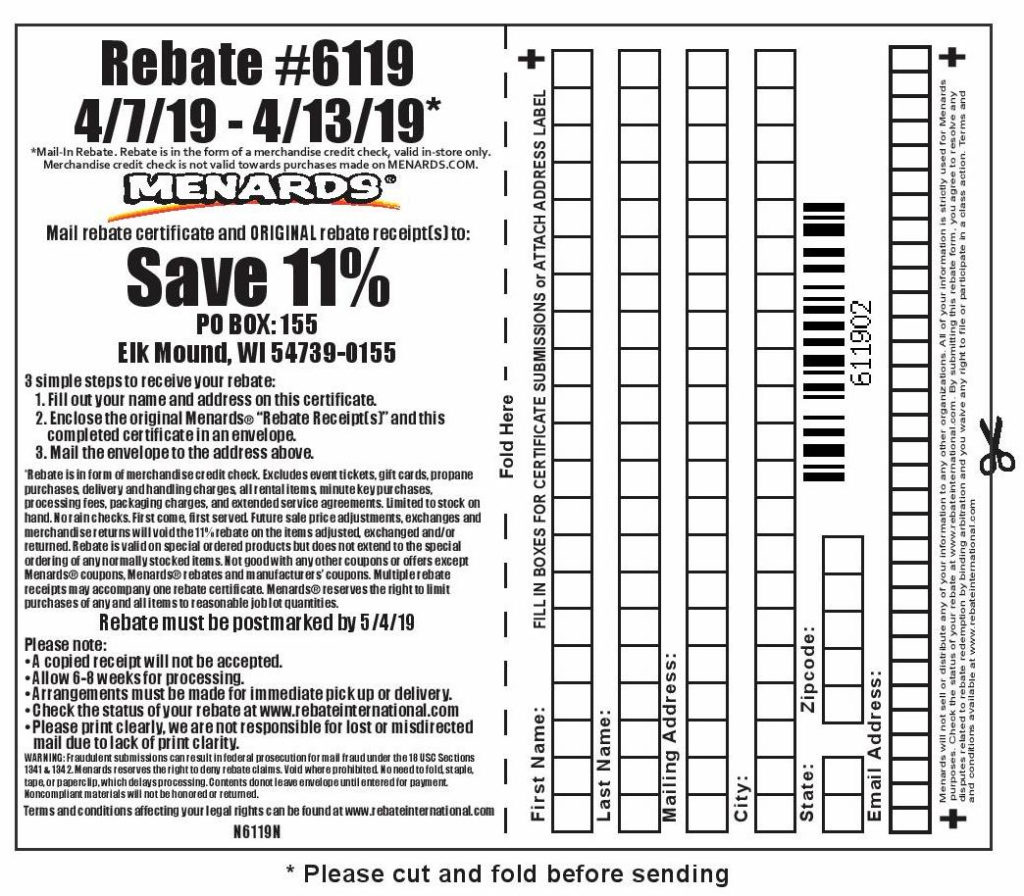 Menards 11 Rebate 6119 Purchases 4 7 19 4 13 19