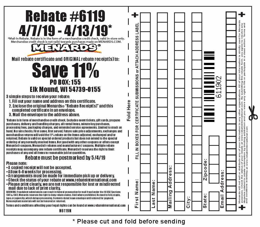 Menards Rebate Form April 2021