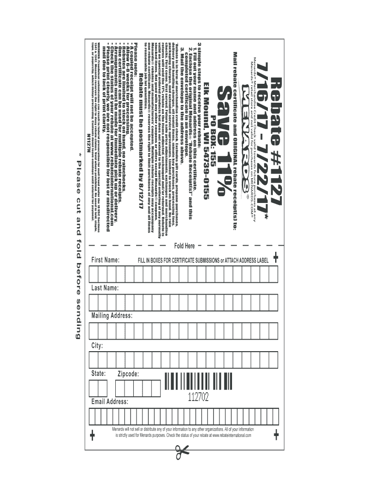 Menards Rebates Online Fill Online Printable Fillable
