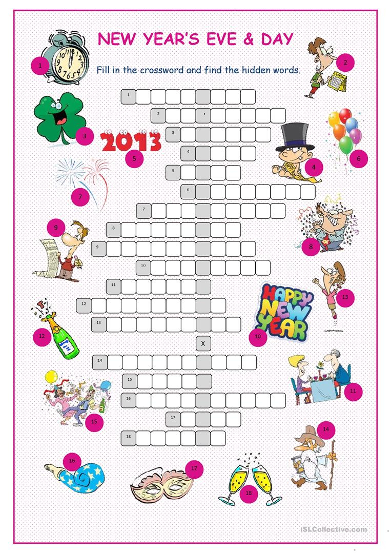 Printable New Year's Crossword Puzzle