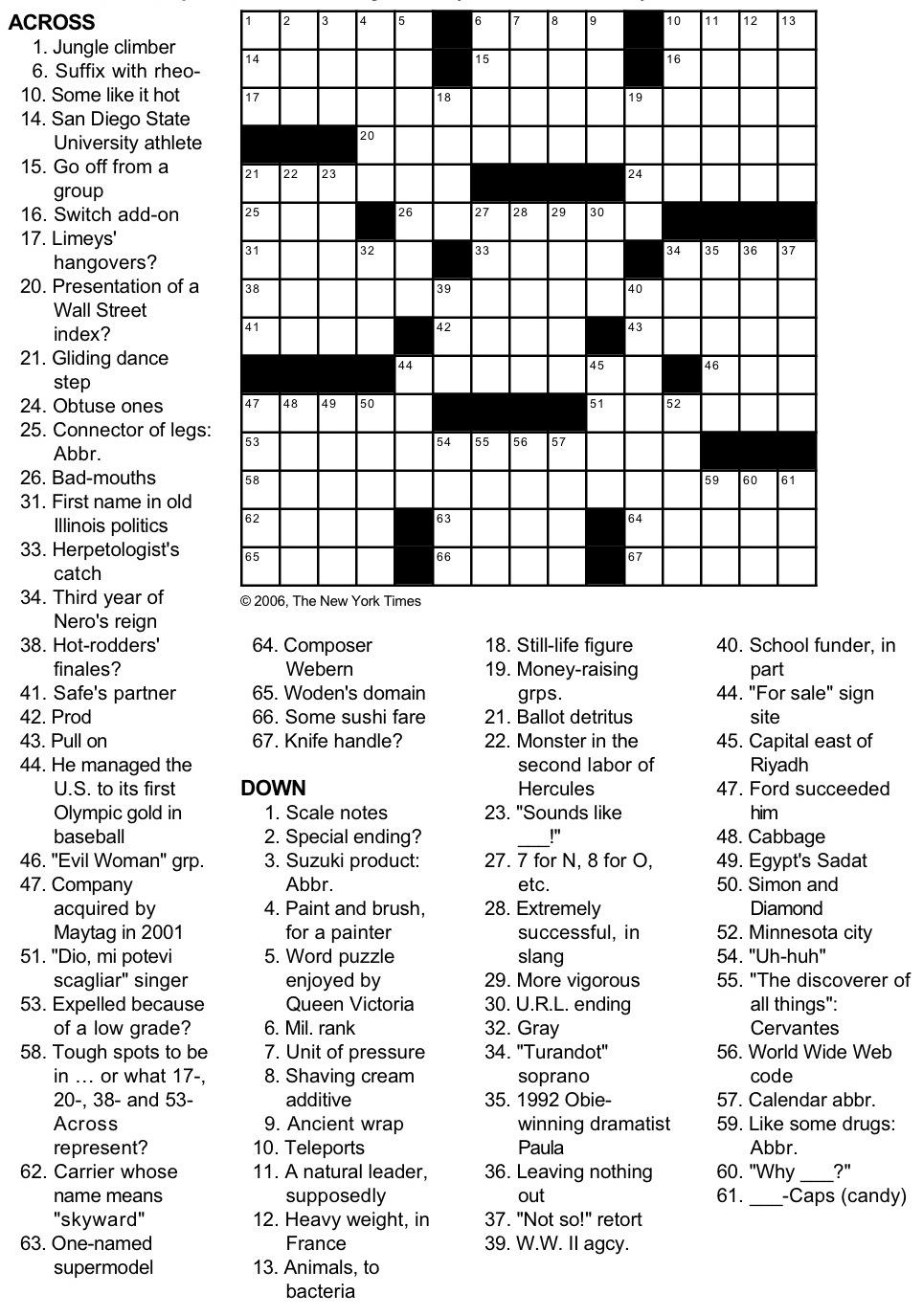 N Y Times Crossword Printable