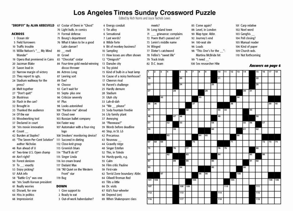 New York Times Sunday Crossword Printable Rtrs Online