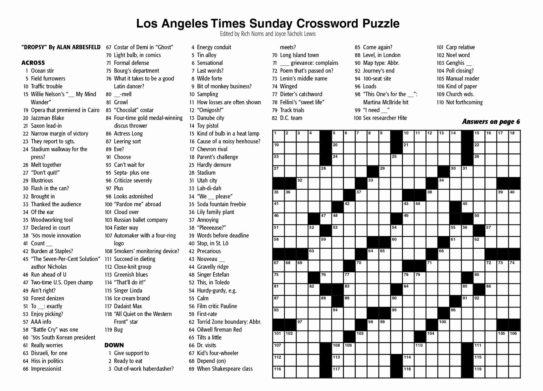 Free New York Times Sunday Crossword Printable