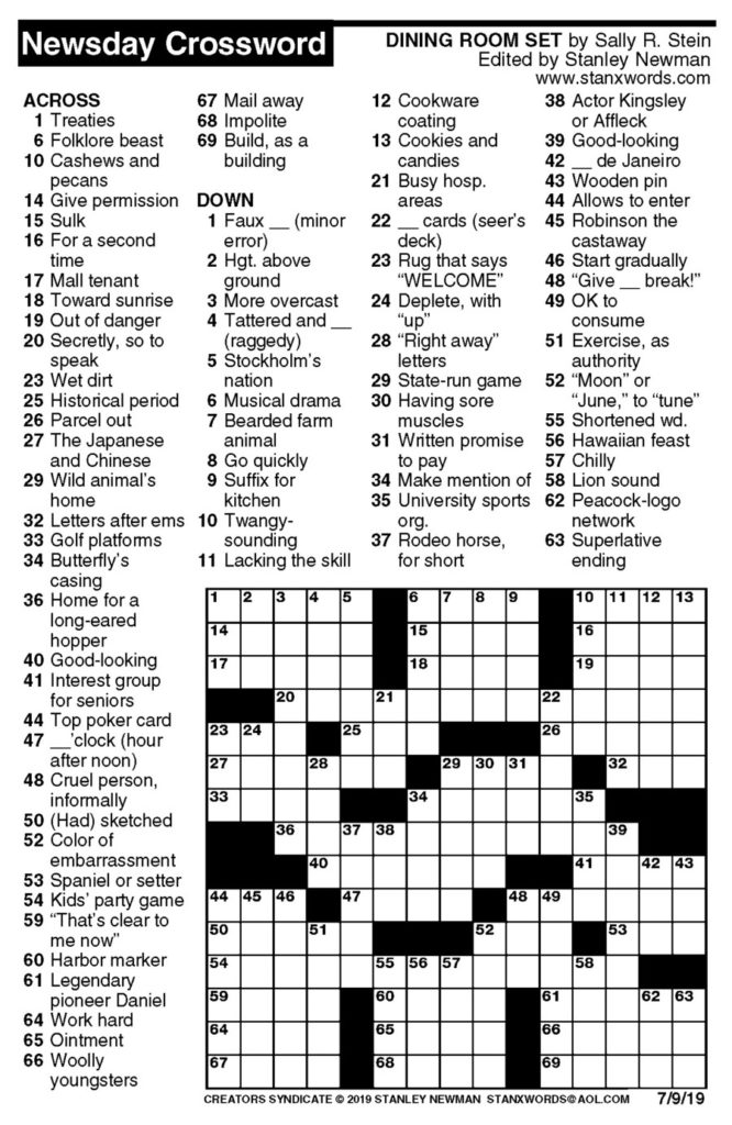 Newsday Crossword Puzzle For Jul 09 2019 By Stanley