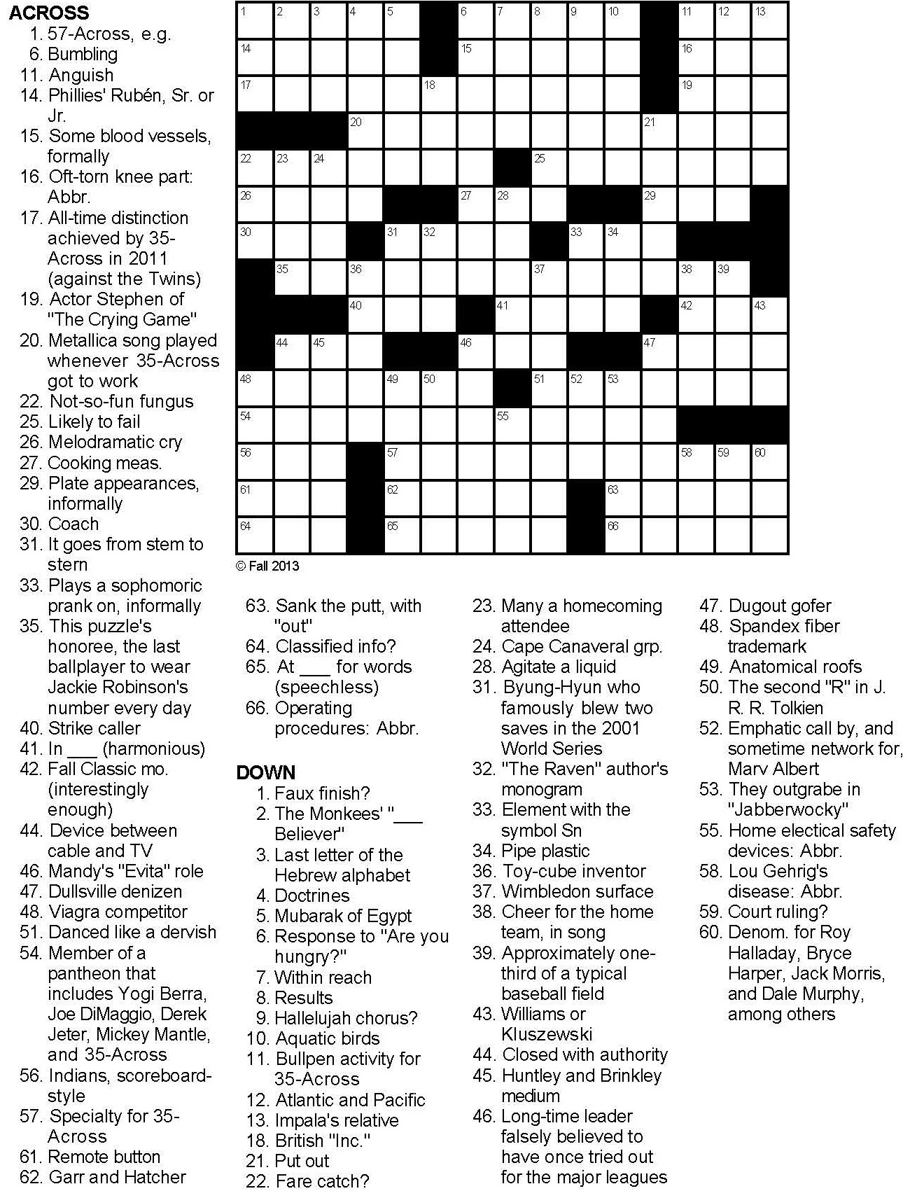 Baseball Crossword Puzzles Printable Free