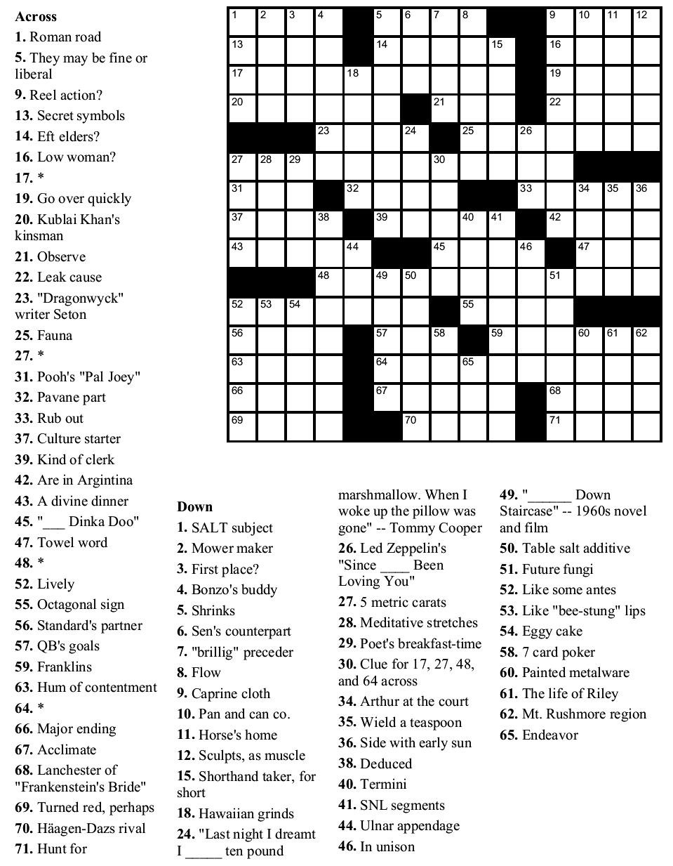 Free Daily Printable Crossword Puzzles July 2019