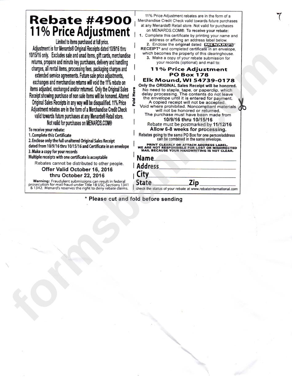 Menards Rebate Form 490