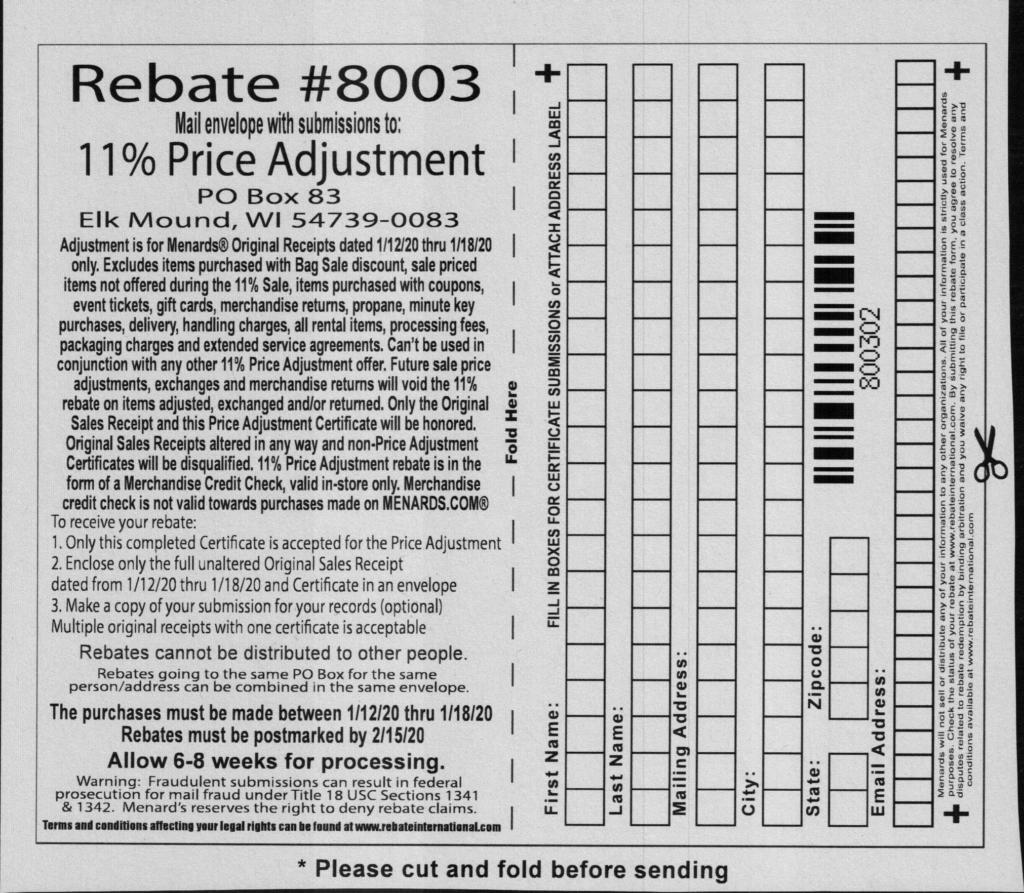 Shopping Kim Menards Price Adjustment Rebate Form