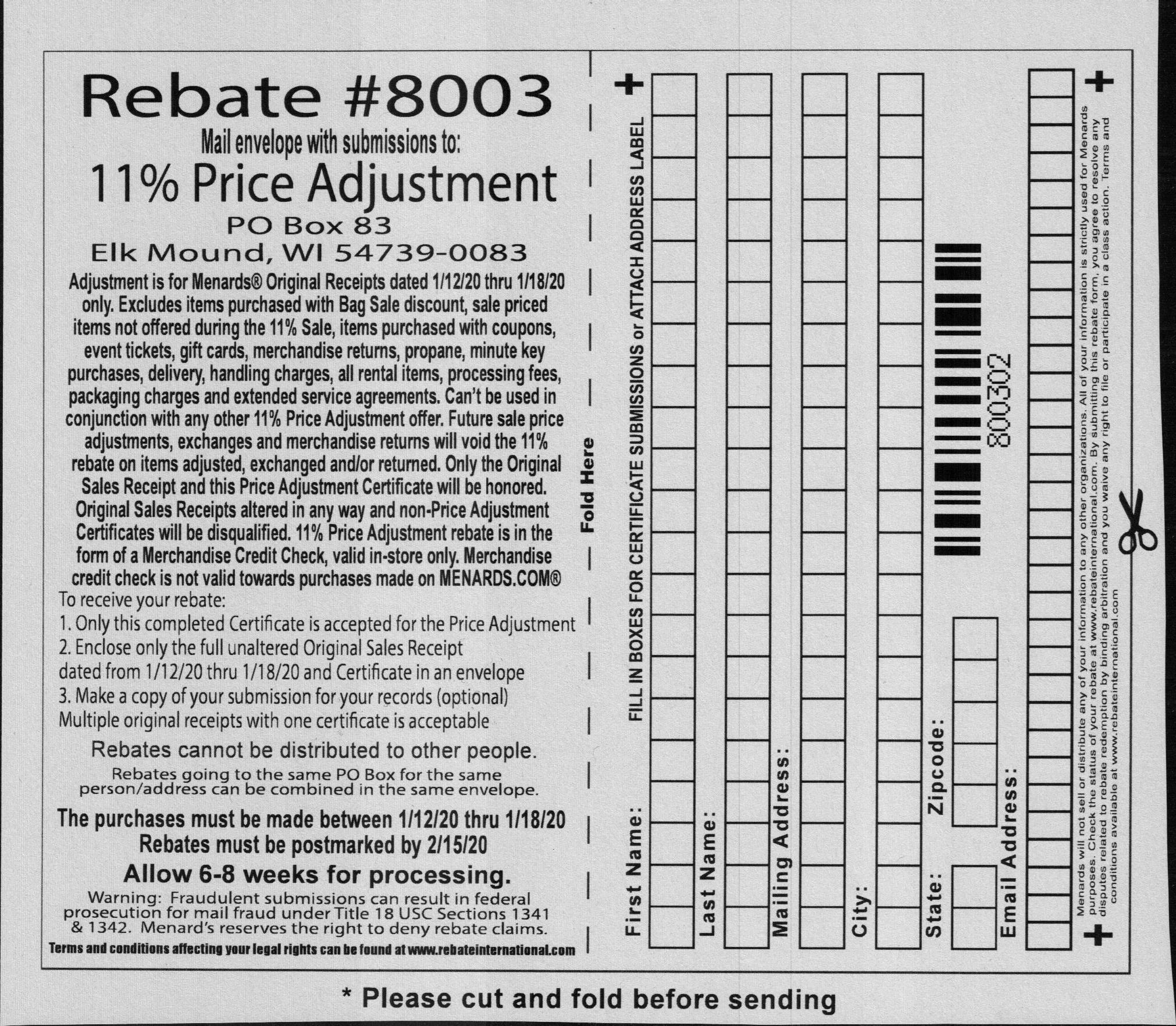 Menards Rebate Adjustment Form
