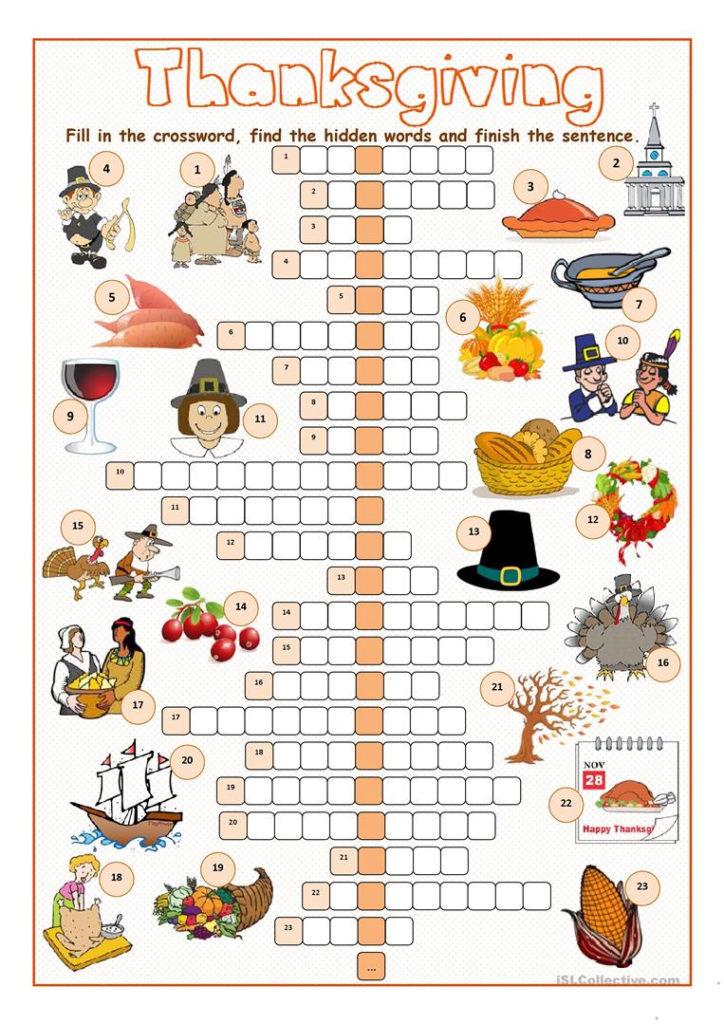Thanksgiving Crossword Puzzle Worksheet Free ESL