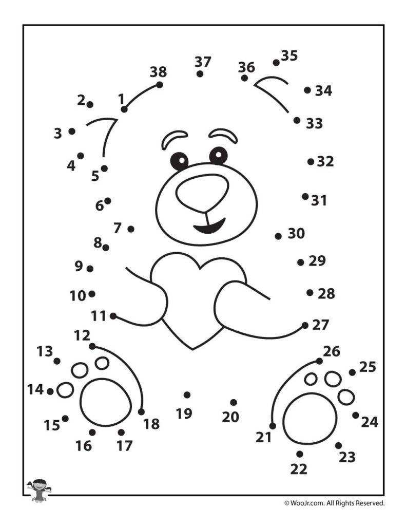 Valentine Teddy Bear Dot To Dot Woo Jr Kids Activities