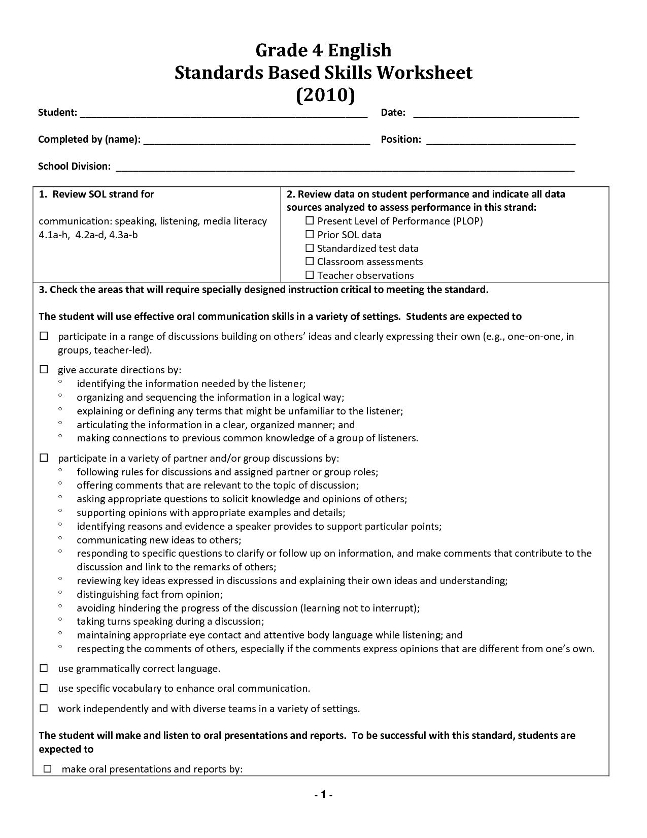 Grade 4 Free Printable Worksheets
